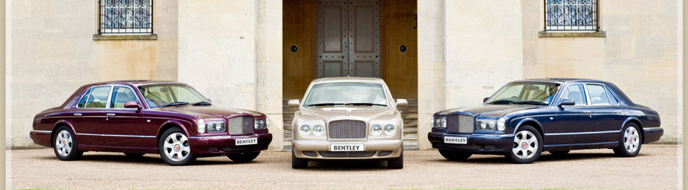 Image showing three of our Bentley Arnage car hire fleet